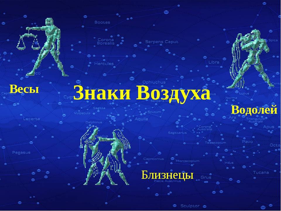Знаки воздуха Весы, Водолей и Близнецы